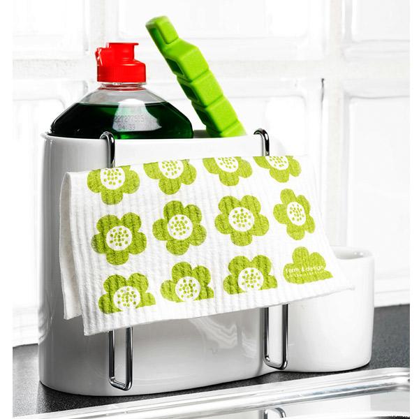 Dish brush holder with drying rack