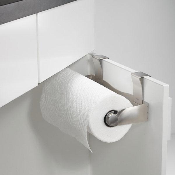 Mountie Paper Towel Holder mounted on cabinet door