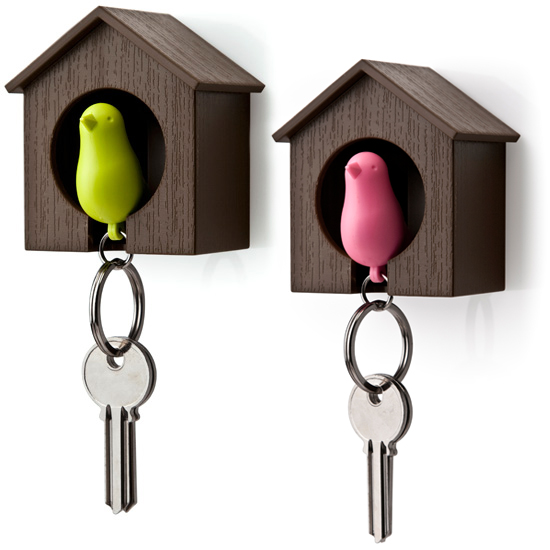 Sparrow keyring with whistle
