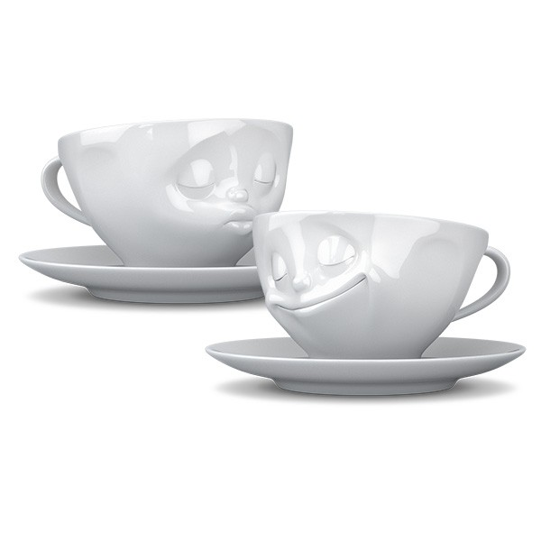 Tassen cups with faces - Kissing and smiling