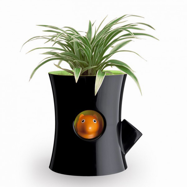 Self-watering flowerpot - Log and Squirrel - Black