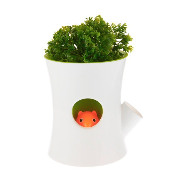 Self-watering flowerpot - Log and Squirrel - White